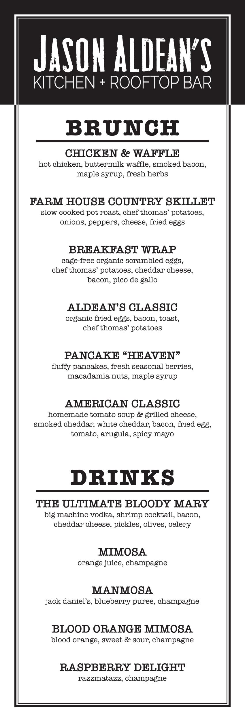 Jason Aldeans menu