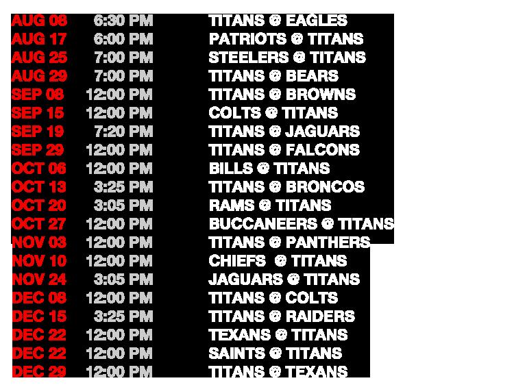 Titan Schedule