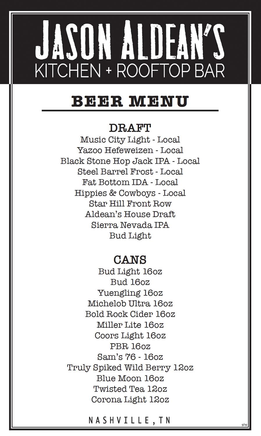 Jason Aldean's Beer Menu