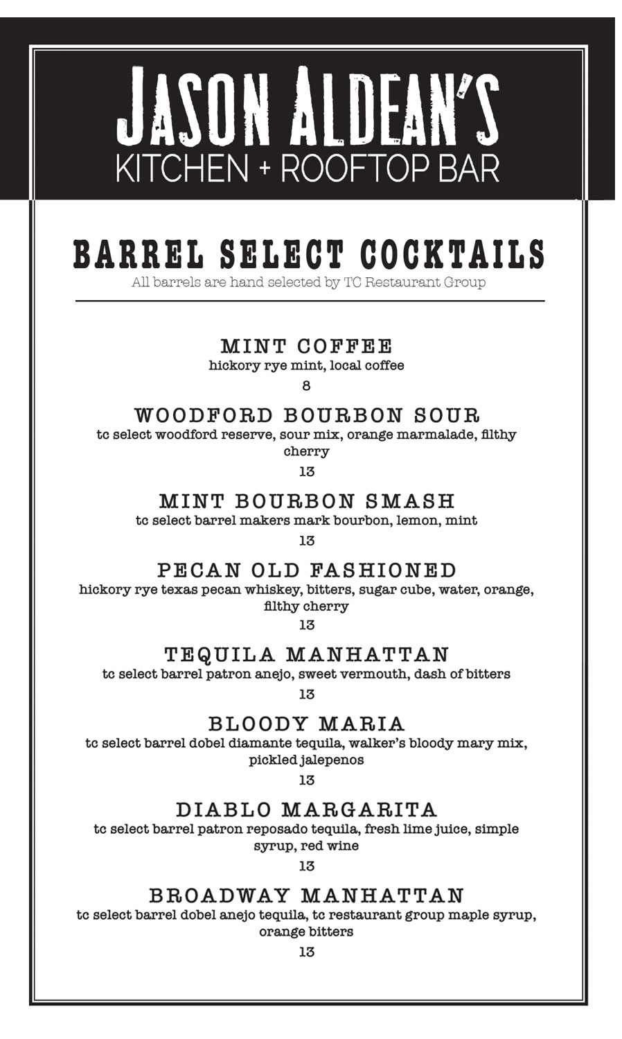 Barrel Drink Menu